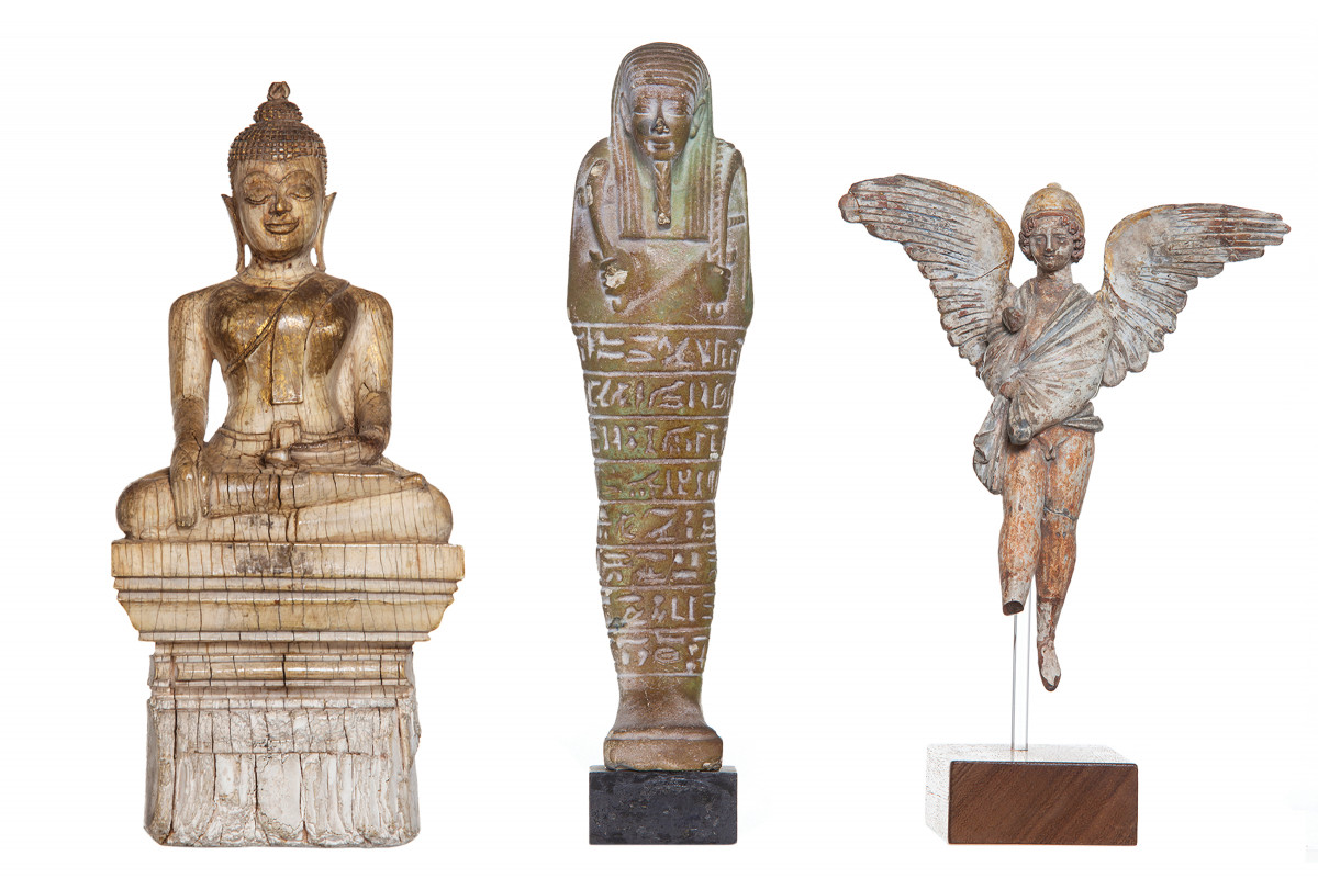 Statuettes of Buddha, Imhotep and Eros from Sigmund Freud's collection | collection photography |© Freud Museum London
