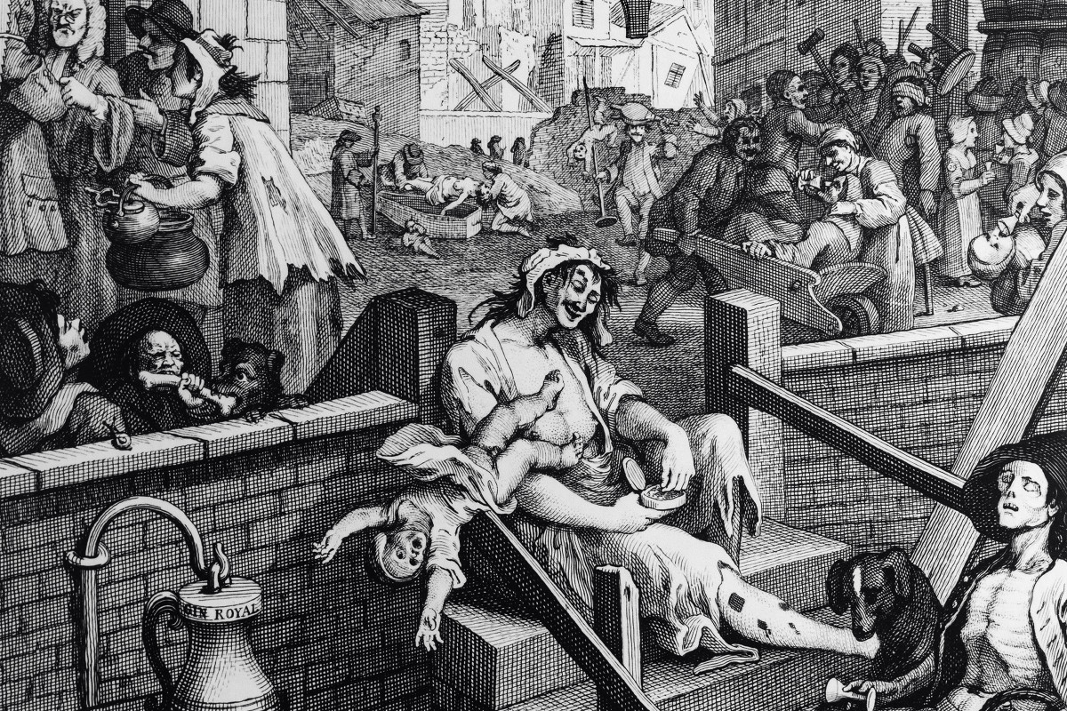 Hogarth's engraving 'Gin Lane' (detail) | museum photography | © The Foundling Museum
